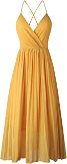 Avondii Damen Ärmellos Chiffon Kleid Elegant V-Ausschnitt Partykleid Schulterfrei Sommerkleid