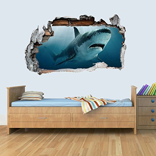 L Vinyl Wall Smashed 3D Art Stickers of Illustrated Shark Poster Bedroom Boys Girls