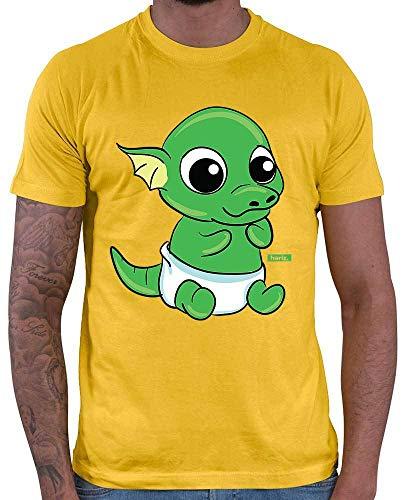 Hariz – Camiseta para hombre, diseño de dragón y pitufo de huevo dulce animales de la selva Plus tarjetas de regalo dorado amarillo XL