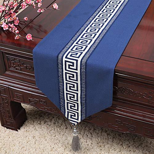 Branfan minimalistische moderne eenvoudige Europese nieuwe klassieke Chinese tuintafel lange tafel loper tafelkleed tafelkleed mat - terug naar de sub-rooster saffier blauw_33x180cm