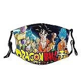 Dragon Ball - Máscara protectora para la boca lavable con filtro reemplazable, carbón activado, suave, transpirable, al aire libre, deportes, motor/ciclismo para adultos