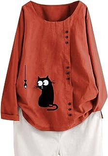 LOPILY Leinenblusen für Damen Große Größen 50 Katzen Muster Gedruckte Shirts mit Asymmetrischer Knopfleiste Langarm Tunika Leinen Tops Lockere Lässige Bluse Long Shirts Damen Herbst