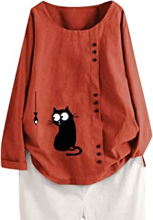 Honestyivan Women's Fashion O-Neck Cartoon Cat Fish Print Button Cotton Linen Long Sleeve Shirt Tops Large Size Autumn