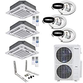 """Klimaire 3-Zone (18K+18K+18K BTU) Ceiling Cassette 21.5 SEER Ductless Multi-Zone Inverter Air Conditioner Heat Pump with… 1 Klimaire Ducted Recessed Inverter Heat Pump system includes indoor ceiling cassette, outdoor condenser, wall bracket, 25-ft installation kit, and remote control. Discrete and elegant design with very low profile and only a flush grille showing on the ceiling. Fits into a standard 24""""x 24"""" ceiling grid. Provides cooling and heating capacity with 360° air distribution providing comfort in every corner of the room A Ceiling Cassette unit is ideal for installation in spaces where duct-work is impractical or impossible and can also share its cooling and heating capacity with an adjacent room by means of a 6"""" supply duct connection. Fresh air intake design 2.5"""" Ø."""