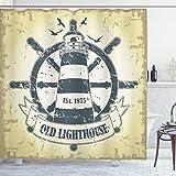 ABAKUHAUS Nautisch Duschvorhang, Schiff Helm Rad Retro, mit 12 Ringe Set Wasserdicht Stielvoll Modern Farbfest & Schimmel Resistent, 175x200 cm, Schwarz Weiß & Elfenbein