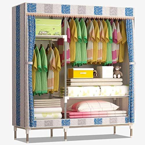 Lipenli Simple Wardrobe Armarios de tela plegable Armario Armario simple reforzado con tela grande Armario doble almacenamiento de ropa Gabinete