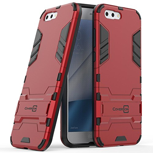 Asus Zenfone 4 Case, CoverON Shadow Armor Series Modern Style Slim Hard Hybrid Phone Cover with Kickstand Case for Asus Zenfone 4 - Red