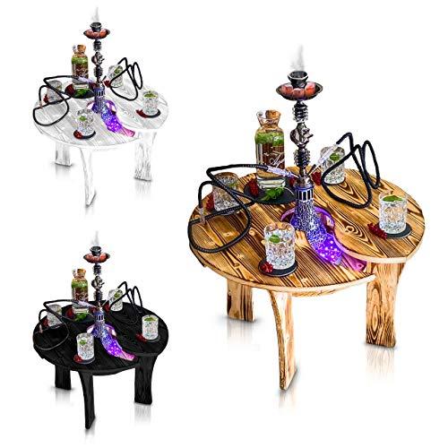 Premium Shisha Tisch | mit Zubehör Untersetzer Set Schieferplatten für Getränke Kohle Anzünder Hygienemundstücke | Extra Ablage Loch für Wasserpfeife - Led Licht | für Indoor Outdoor The Hookah Bar…