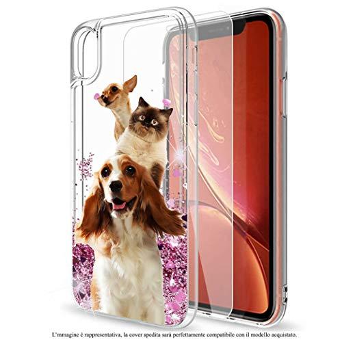 Mixroom - Custodia Cover Case con Brillantini Glitter in Gel Liquidi Quicksand per Samsung Galaxy J5 2017 Fantasia Amicizia tra Cane E Gatto Codice 656