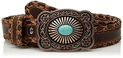 Ariat Women's Lace Edge Copper Turquoise Buckle Belt, brown, Large