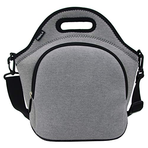 Hibala Neoprene Lunch Tote Bag For Women&Men-With Zipper-Keeping Food ColdWarm 4 Hours-125 x 125 x 65 inch-Outdoor Work Travel Picnic Lunch Handbags Sliver Grey