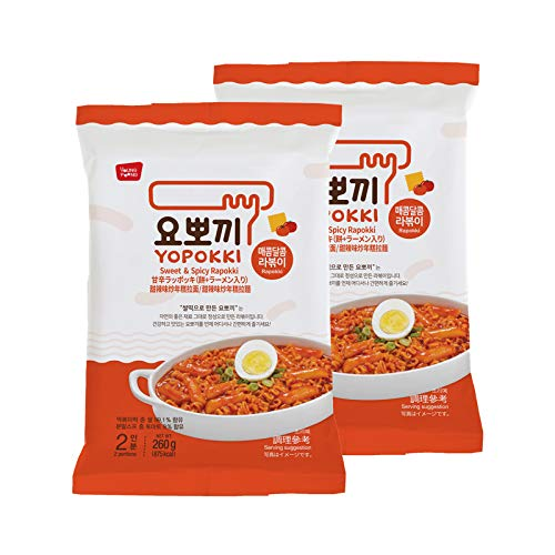 Instant Rapokki Ramen Tteokbokki Rice Cake with Ramen Noodles Popular Korean Snack 260g (Spicy & Sweet Sauce) 라볶이 떡볶이 (1)