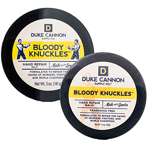 Duke Cannon Supply Co. Bloody Knuckles Hand Repair Balm Set for Men: Net Wt. 5oz + 1.4oz / Fragrance-Free, Paraben-Free
