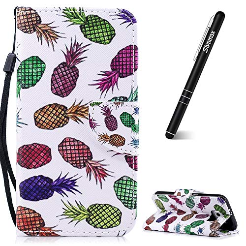 Slynmax Samsung Galaxy S6 telefoonhoesje Flip lederen portemonnee met standaard cover + 1 * styluspen Gekleurde ananas