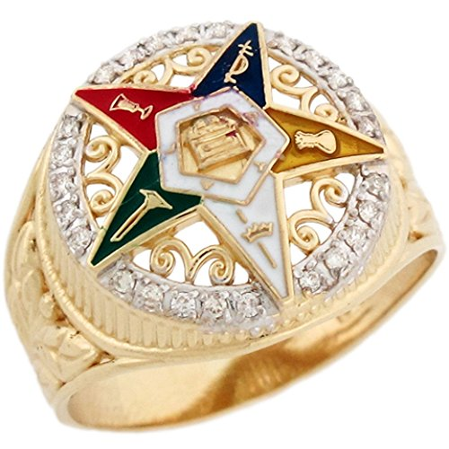 Jewelry Liquidation 10k Real Gold Eastern Star Enamel Colorful Stylish Diamond Ladies Ring