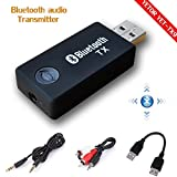 YETOR Bluetooth Transmitter for TV (3.5mm, RCA, Computer USB Digital Audio) Dual Link Wireless Audio Adapter for Headphones, Low Latency, USB Power Supply(TX9)