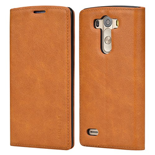 Mulbess Funda LG G3 [Libro Caso Cubierta] Slim de Billetera Cuero Carcasa para LG G3 Case, Marrón