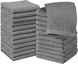 Utopia Towels Cotton Gray Washcloths Set - Pack of 24 - 100% Ring Spun Cotton, Premium Quality Flannel Face Cloths, Highly Absorbent and Soft Feel Fingertip Towels