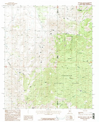 New Mexico Maps - 1987 Skeleton Canyon, NM - USGS Historical Topographic Wall Art - 44in x 55in