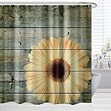 BROSHAN Landhaus-Duschvorhang-Tuch, Blume auf rustikaler Holzbohle, Vintage-Blütenmuster, Polyester, wasserdicht, Badezimmer-Dekor-Set mit Haken, 183 x 183 cm