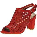 GUAPÍSIMA Sandalia Mujer Importación Zapato Tacón Ancho 8CM Antelina Punta Abierta Hebilla Rojo Talla 38