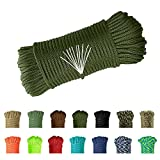 Balit 550 Paracord/Parachute Cord 100 Feet Mil-Spec Paracord 10-Strand Core 650ld Nylon Parachute for Outdoor Emergency Tactical Survival Camping Hiking Bracelet(Army Green)