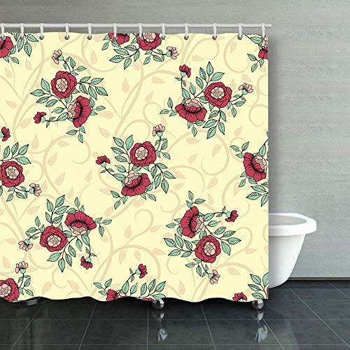 BGNHG Cortina de la Ducha Shower Curtain Seamless Handdrawn Pattern Do