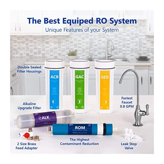 Express Water - ROALK5D Reverse Osmosis Alkaline Water Filtration System – 10 Stage RO Water Filter with Faucet and Tank… 5 Reverse Osmosis Water Filter: Experience what water should taste like with the Express Water reverse osmosis water filtration system removing up to 99. 99% of Lead, Chlorine, Fluoride, Nitrates, Calcium, Arsenic, Bacteria, and more Alkaline Water Filter: Express Water's Alkaline Water Filter with Active Mineral Technology adds Calcium, Potassium, Magnesium, and other minerals to your water Under Sink Water Filter: Don't waste money on professional installation. Express Water's quick and easy-to-understand design means you can install and understand everything about your new water filtration system
