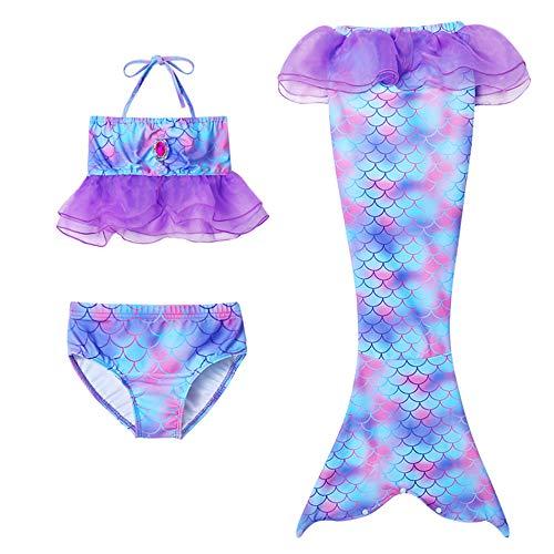 3Pcs Meerjungfrau Schwanz Badeanzug Mädchens Mermaid Schwanz Zum Schwimmen Prinzessin Bikini Gesetzter Kostüm Cosplay,Without Monofin,110cm