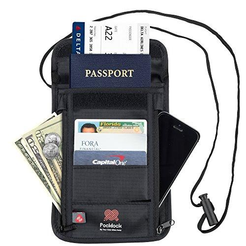 Porta Documenti da Viaggio - Miglior Portafoglio da viaggio in nylon collo Stash con Blocco Rfid per Estrema Protezione delle tue Carte e Passaporti con Tasca per Banconote - Vari Scomparti
