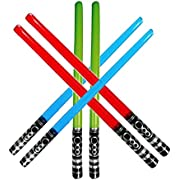Yojoloin 6PCS Inflatable Party Balloons Star War Light Sabre Sword Stick Balloons For Halloween Party Supplies Costume Fancy Dress Party Favors Balloons 80s Photo Booth Props (6 PCS)