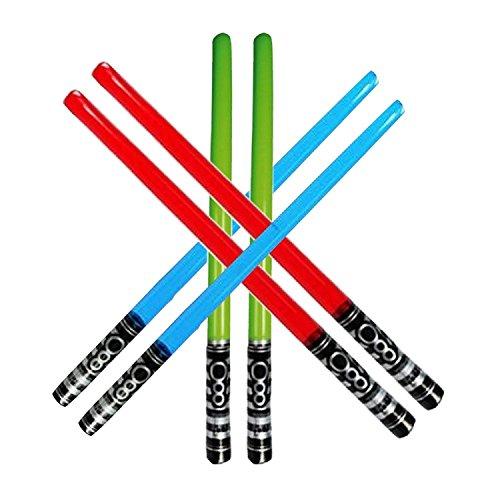 Yojoloin 6 UNIDS Inflables Star War Light Saber Sword Stick Globos para Suministros de Fiesta Favores de Fiesta Globos Color Aleatorio (6 PCS)