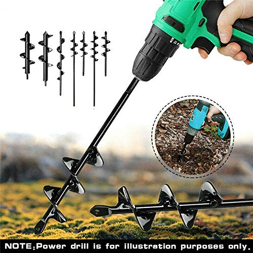 WE&ZHE Flower Bulb HEX Shaft Drill Planter,Non-Slip,Garden Planting Tools Spiral Hole Digger Tool, for Planting Vegetables Flowers Tulips Tree Tool,8x18cm