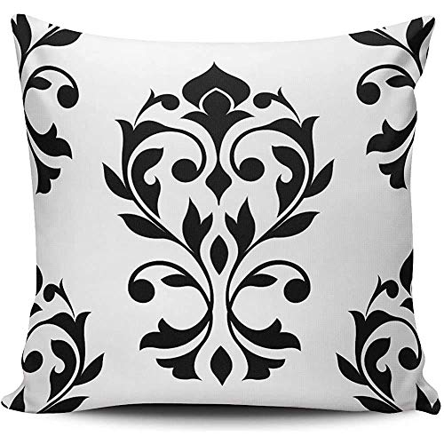 PageHar PillowslipHeart Damask Black White Decorative Throw Pillowcase Cushion Cover Square Zippered Pillow Case Customized Cushion Cover 45 * 45cm