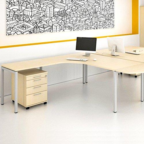 Winkelschreibtisch mit Rollcontainer NOVA XL 180x200cm Ahorn Eck-Schreibtisch