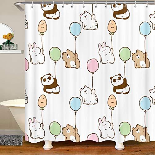 Cortina de ducha de tela de cerveza para niños, diseño de conejo, panda de dibujos animados, impermeable, para niños, niñas, mascotas, animales, globo cortina de ducha con ganchos, 180 x 210 cm