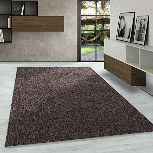 Carpetsale24 Kurzflor Teppich Flachgewebe Schlingenteppich Kettelteppich Meliert Braun, Maße:160 cm x 230 cm