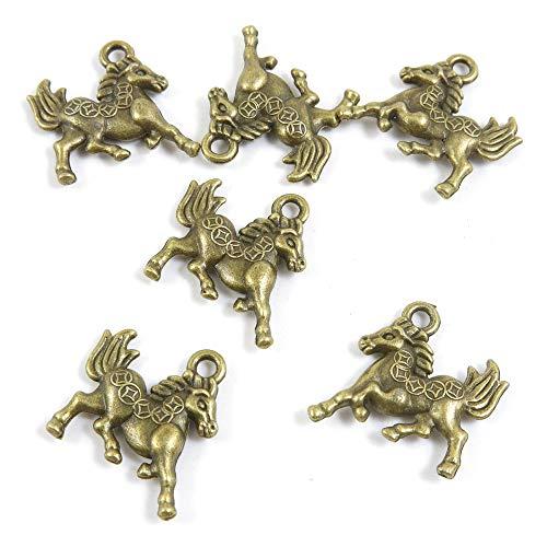 Antieke Bronzen Tone Sieraden Charms X5WX1V Wealth Running Horse Craft Art Crafting Kralen maken Antiek brons