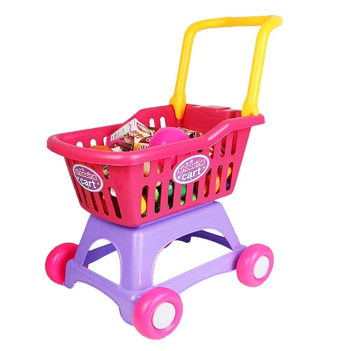 金属ごめんなさい天才ショッピングカートのおもちゃ 3歳ハウス玩具野菜果物スーパーマーケットのショッピングカートの幼児のギフトを再生 キッズフリショッププッシュアロングトイ (Color : Red, Size : 45x31x56CM)