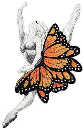 BeyondVision Individuele en unieke ballerina danseres met vlinders geborduurd ijzer naaien patches 7.8 x5.6 grijs, zwart, wit