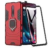 XIFAN Funda para Xiaomi Mi 9T, [Robusto] Anillo Metálico Soporte [Funciona con El Montaje De Coche Magnético] Case Carcasa, Rojo + 2 Piezas Protector de Pantalla