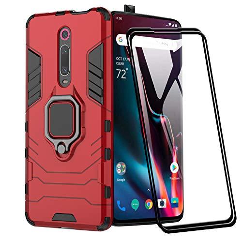 XIFAN Funda para Xiaomi Mi 9T Pro, [Robusto] Anillo Metálico Soporte [Funciona con El Montaje De Coche Magnético] Case Carcasa, Rojo + 2 Piezas Protector de Pantalla