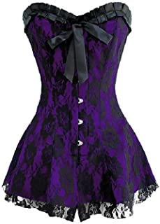 Satin Purple Corset Dress Cocktail Halloween Costume Party Black Net Overbust