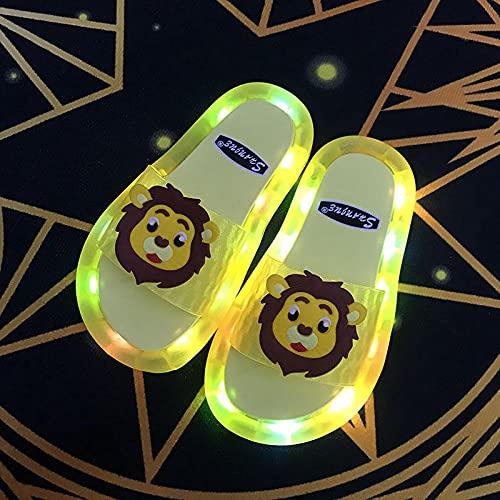 Zapatillas De Casa para Mujer Primavera,Summer Padre-NiñO Led Deslizantes Deslizantes Zapatillas, Moda Linda De Dibujos Animados Abajo Suave con Lion Iluminados Zapatillas Antideslizantes para NiñOs,