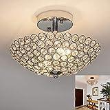 Depuley Plafoniera a LED in cristallo, lampada da soffitto in design moderno con cristalli sintetici, per soggiorno, camera da letto, lampadina, non inclusa