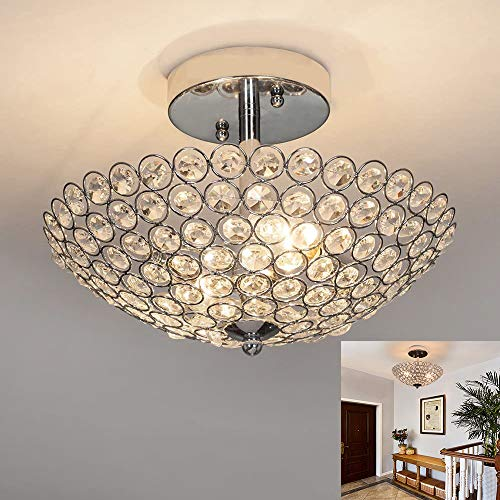 Depuley LED Deckenleuchte Kristall Kronleuchter Kristallbehang Deckenlampe in Modernem Design mit Kunst-Kristallen für Wohnzimmer Schlafzimmer, Glühbirne Nicht Enthalten