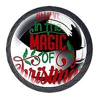 キャビネットハンドルノブドレッサー引き出し用4個クリスマスの魔法を信じてください ドアノブクリスタルガラス