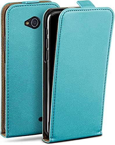 moex Flip Hülle für LG L90 - Hülle klappbar, 360 Grad Klapphülle aus Vegan Leder, Handytasche mit vertikaler Klappe, magnetisch - Türkis