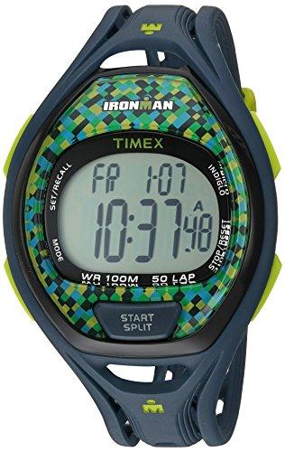 Timex Unisex TW5M07800 Ironman Sleek 50 Full-Size Blue/Lime Resin Strap Watch