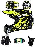 LZSH Casco de moto casco de motocross profesional, casco de cross, MTB, casco infantil, casco con gafas/guantes/máscara, ECE homologado adultos niños quad bike ATV go-kart-helm (B,M: 57-58 cm)